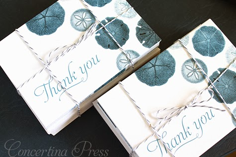 Blue Sand Dollar Thank You Notes by Concertina Press