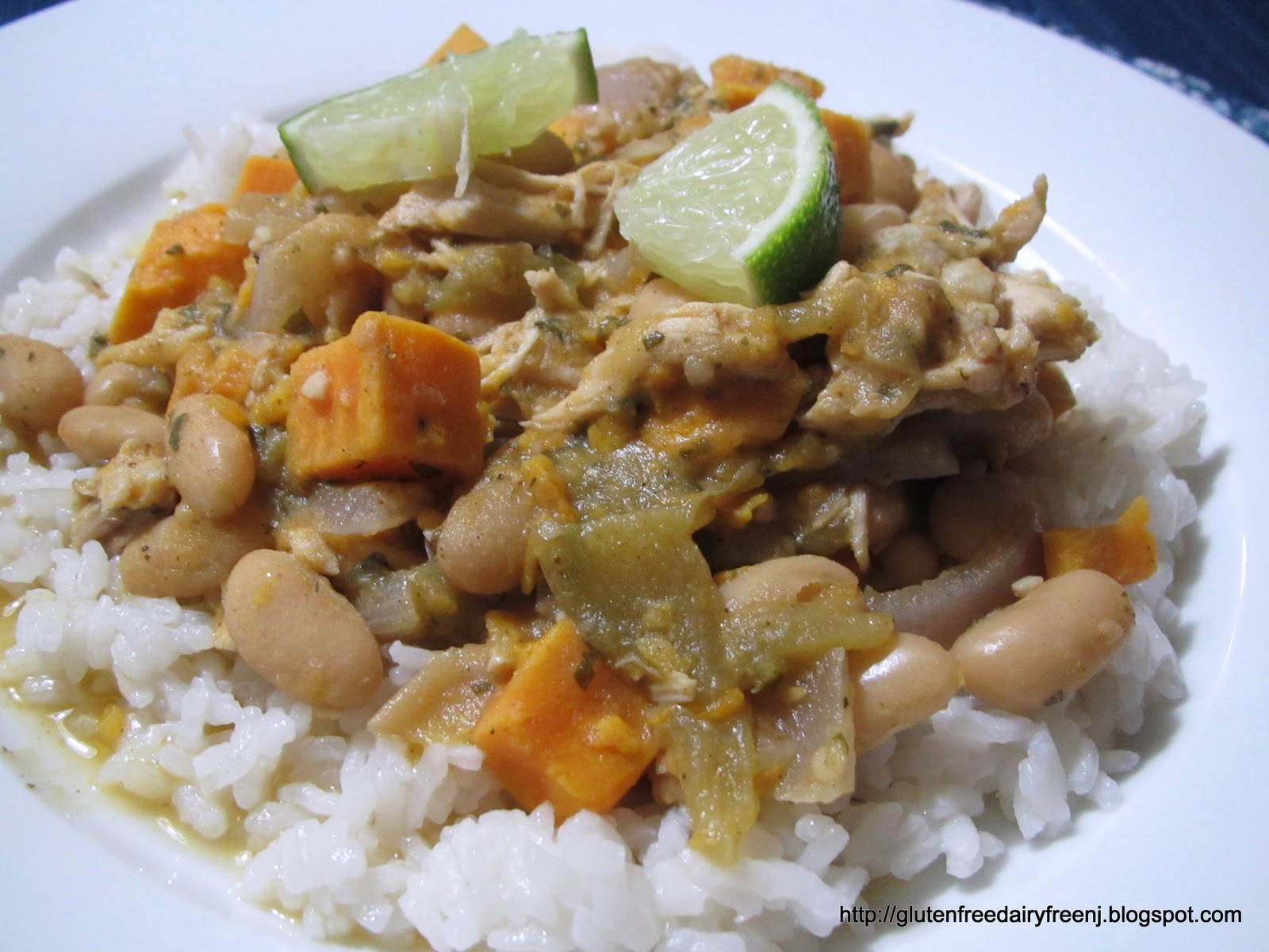 Karina's Chicken Chili with White Beans, Sweet Potato, and Lime