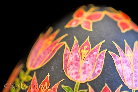 ©Katy David Friday Egg: Woven Tulips Goose Egg Pysanky