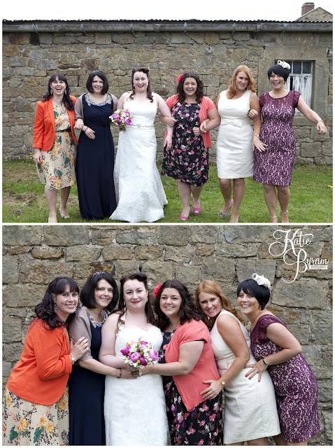 bride and girls, bride in window, bridal prep, vintage wedding, high house farm brewery wedding, northumberland wedding photography katie byram photography,
