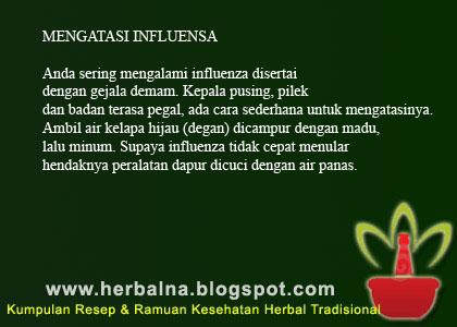 MENGATASI INFLUENSA Anda sering mengalami influenza disertai dengan gejala demam. Kepala pusing, pilek dan badan terasa pegal