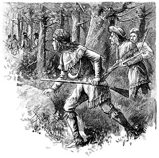 wood cut of Daniel Boone in the forest