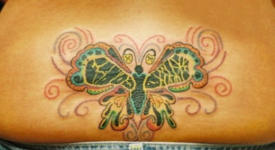 butterfly tattoos design on women lower back that represent loyalty