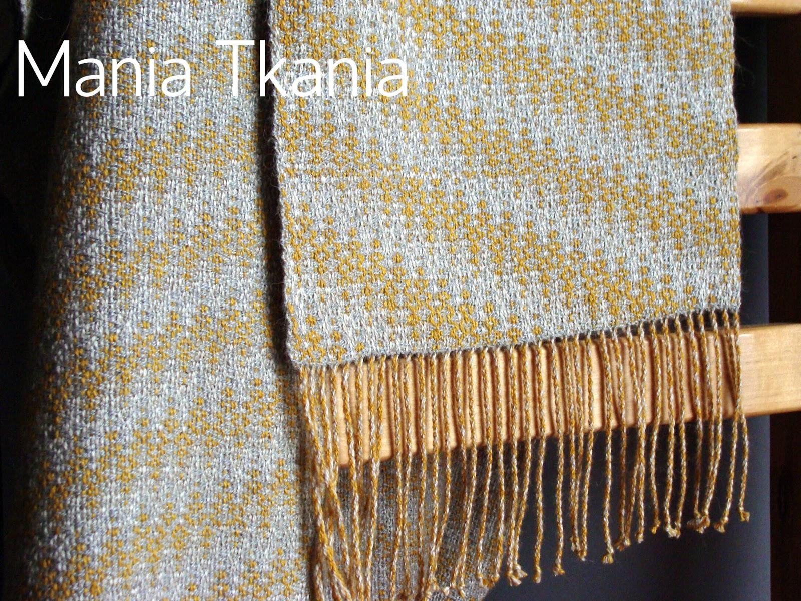 ręcznie tkany szal / alpaka / jedwab / splot skośny / echo weave
