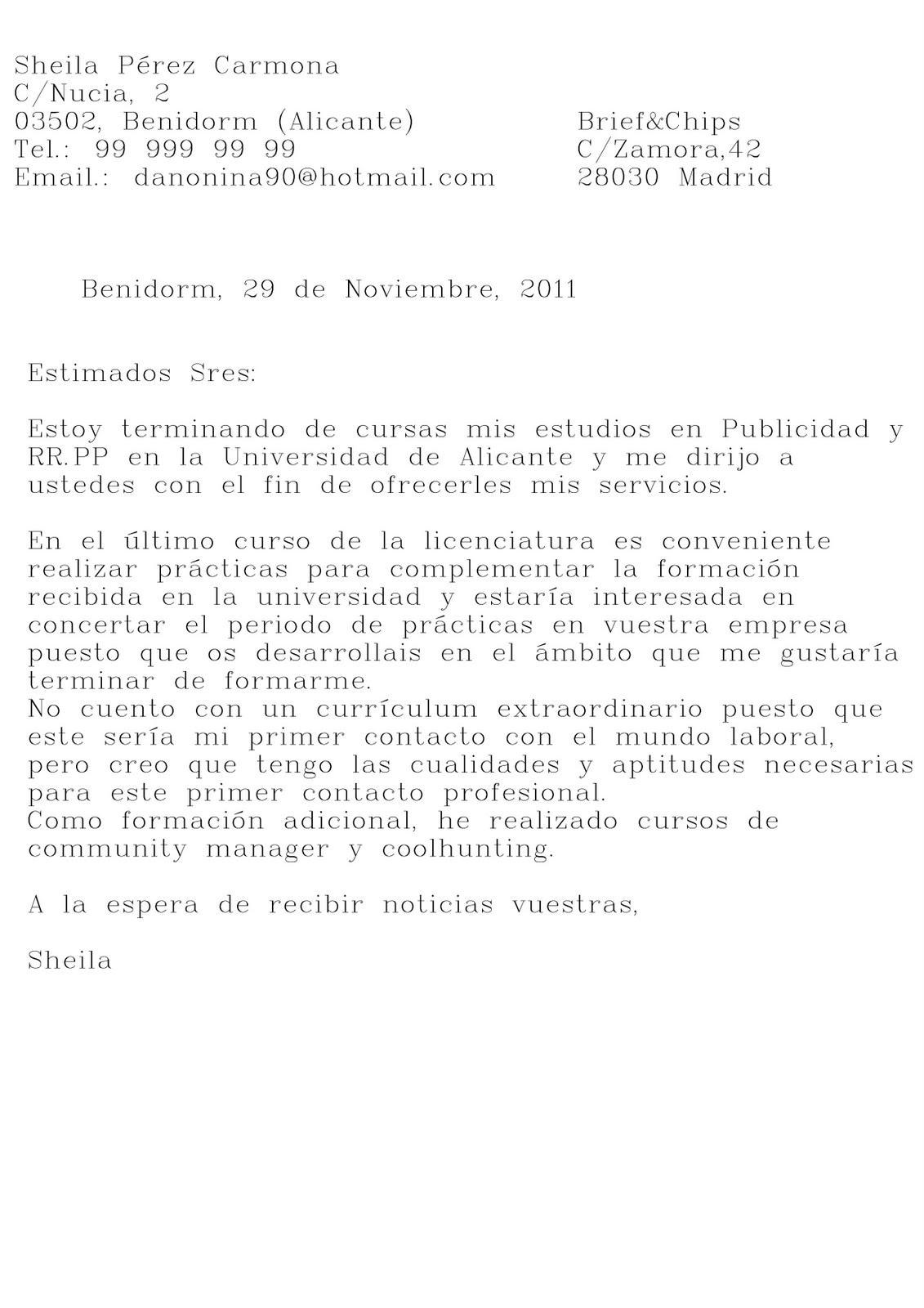 COMUNICACIÓN Y MERCADO DE TRABAJO: CARTA DE PRESENTACIÓN