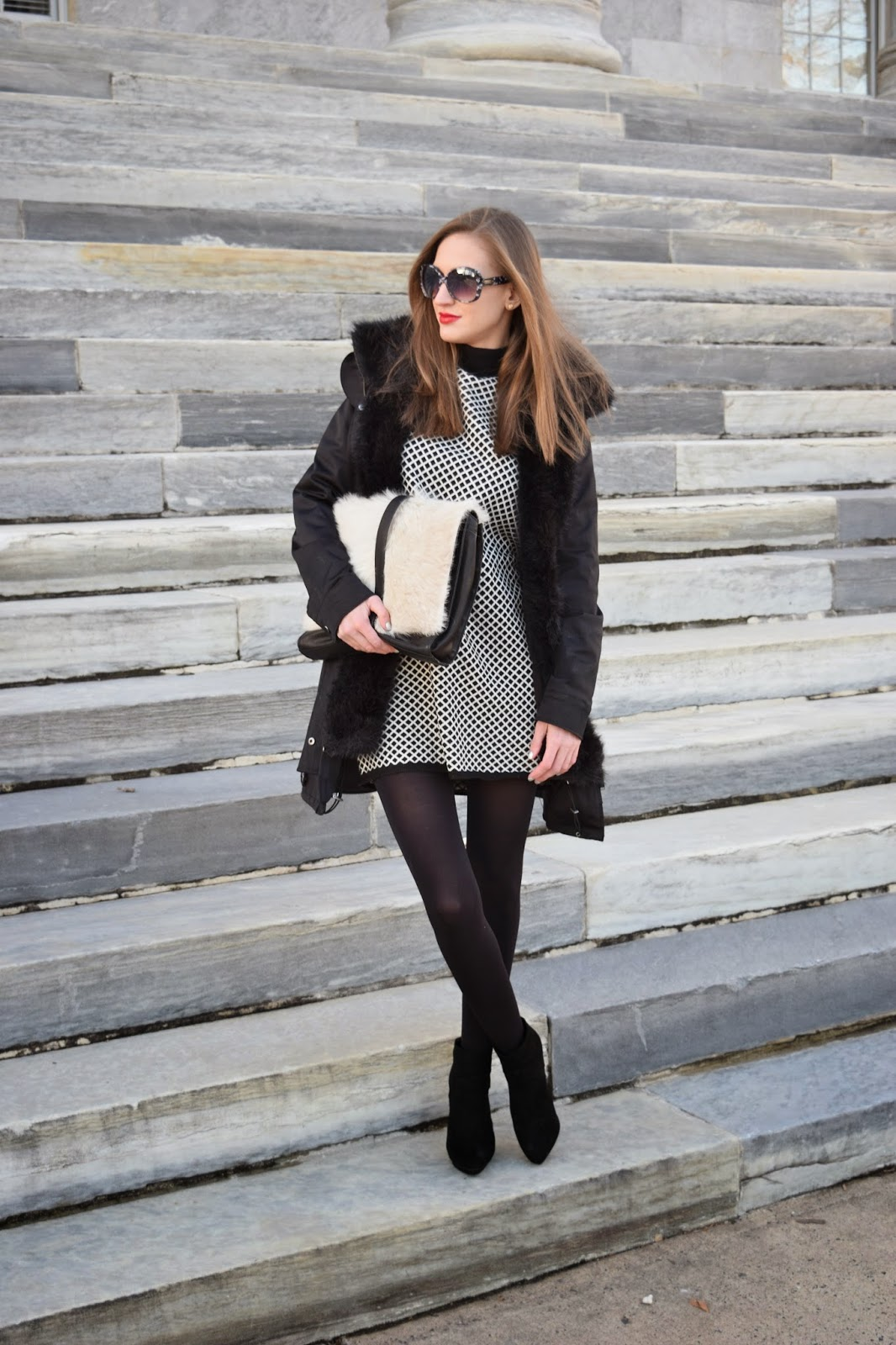 Zara Black And White Shift Dress, Zara Suede Platform Booties, Little Liffner Fuzzy Clutch