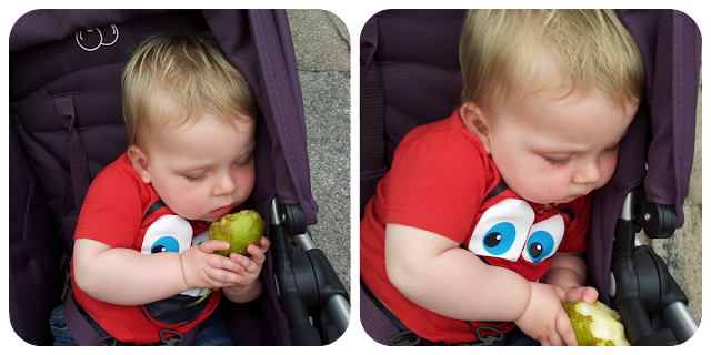 baby falling asleep eating, baby eating pear, 11 month old baby