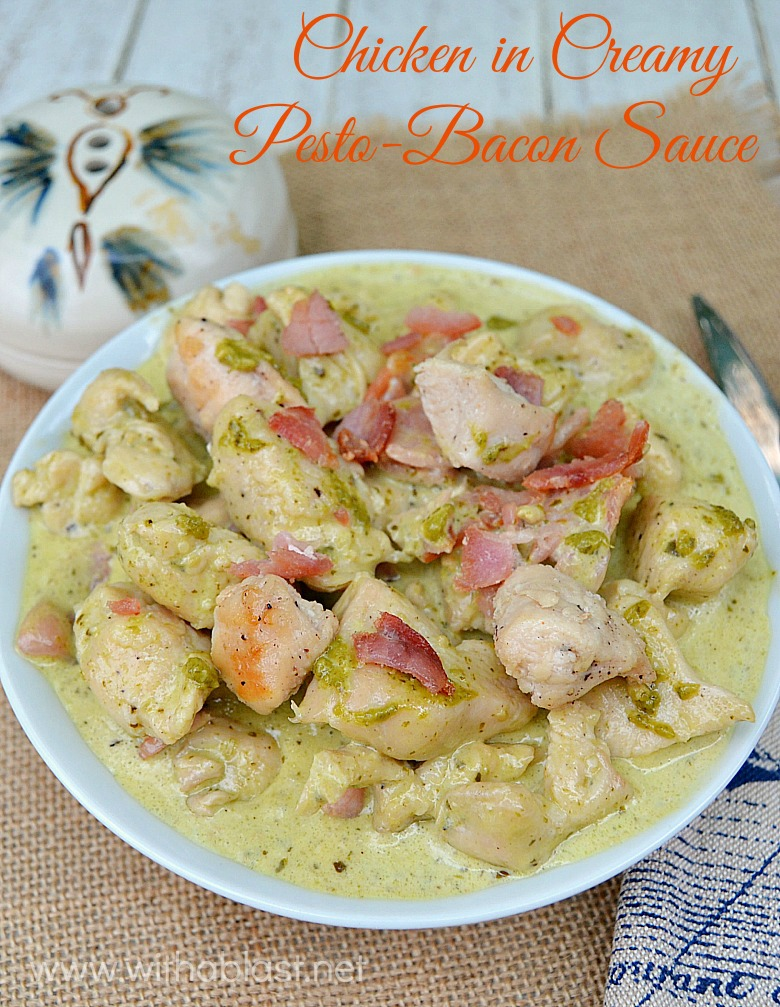 Chicken in Creamy Pesto-Bacon Sauce ~ Quick and easy can be delicious and this Chicken dish, served over Pasta is made in no time at all - scrumptious ! A huge time saving skillet recipe.