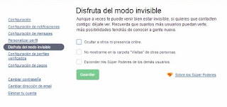 modo invisible en badoo