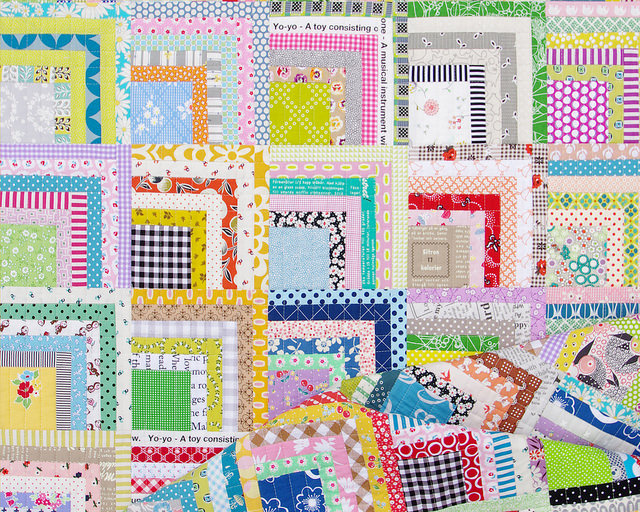 Scrappy Quarter Log Cabin Quilt | Red Pepper Quilts
