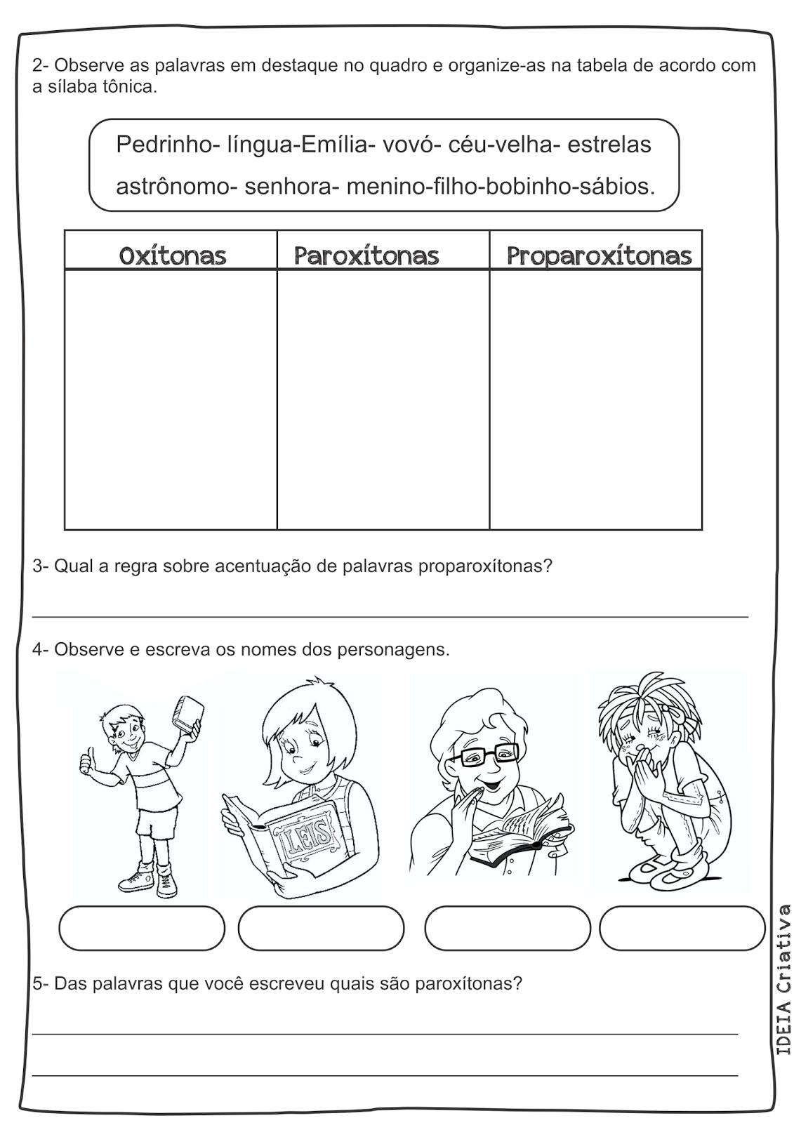 Atividade Sítio do Pica Pau Amarelo 4° Ano Texto Interpretação Tonicidade