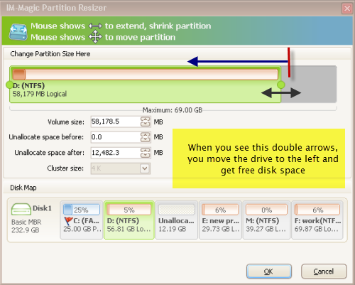 Step 6: clicking proceed to confirm it, then hit yes to start extend e partition