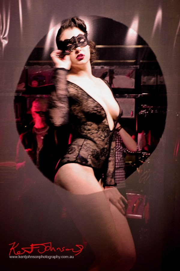 Peep show - Bella Louche in Maison Close lace body stocking at Max Black - Photography by Kent Johnson.