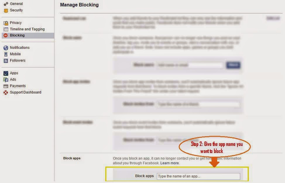 How to block Facebook app request? Step 2
