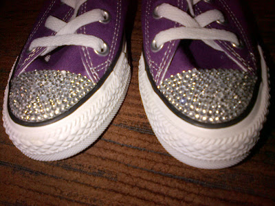 Crystal rhinestone toe top Converse trainers
