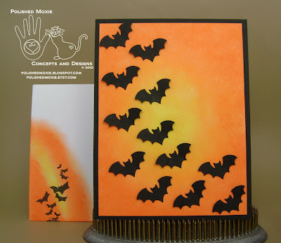 Picture of my handmade bats Halloween card and its coordinating handmade envelope