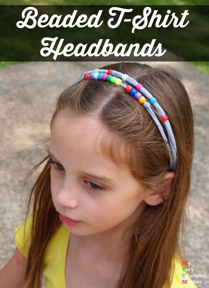 Beaded T-Shirt Headbands are easy enough for kids to make and perfect for a bit of summer fun!