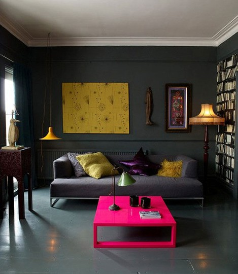 Reminds Me Of Our Last Apartment Where We Had Bright Furniture And Grey And  Black Walls. I Still Have Some Charcoal Paint Leftover So This Is A STRONG  ...