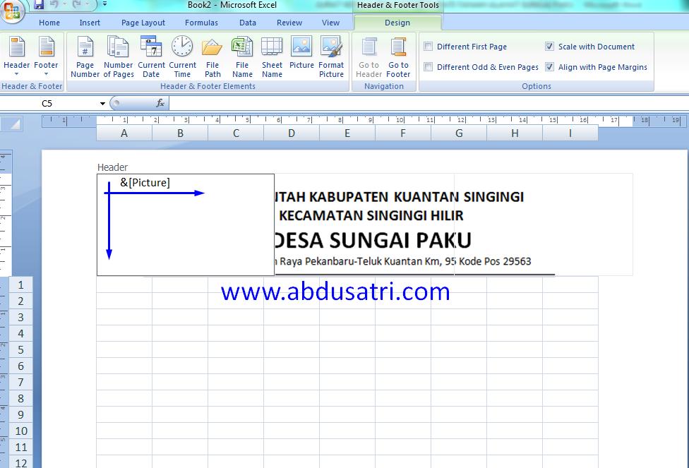 cara membuat kop surat di Ms. Excel