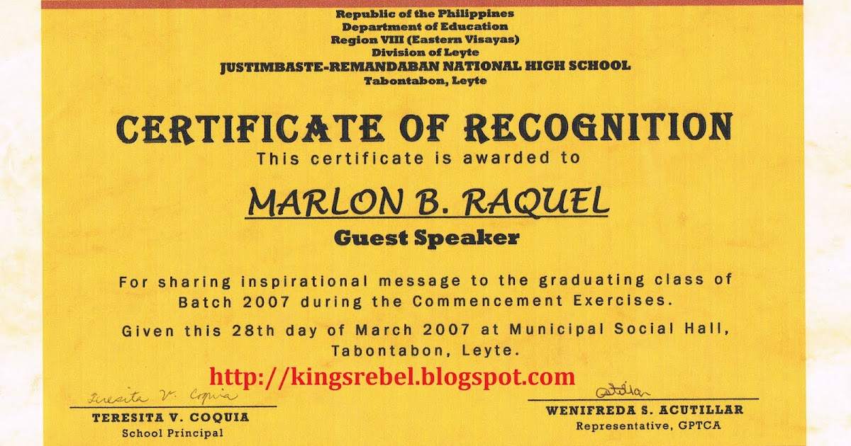 Tidbits and bytes example of certificate of appreciation guest tidbits and bytes example of certificate of appreciation guest speaker 2007 commencement exercises of justimbaste remandaban national high school yelopaper Choice Image