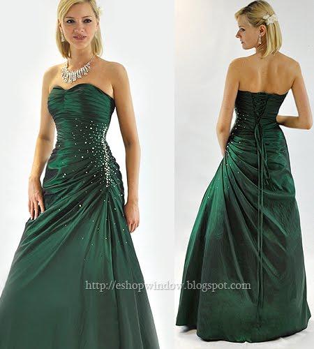 тъмнозелена бална рокля кренолин