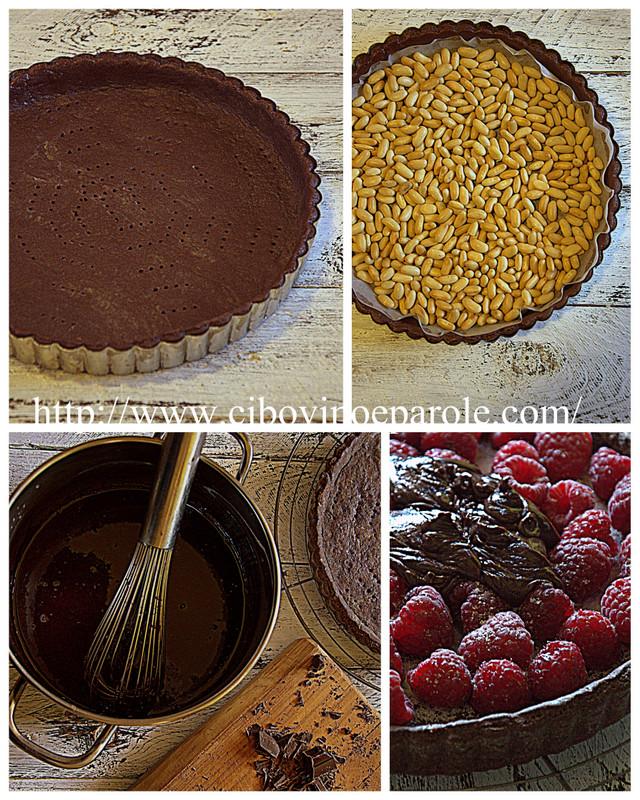 Crostata lamponi e cioccolato    .procedimento