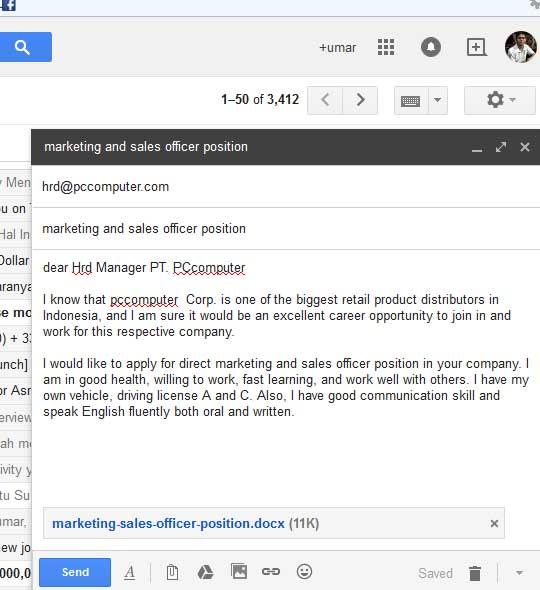 10 contoh surat lamaran kerja email   ben jobs