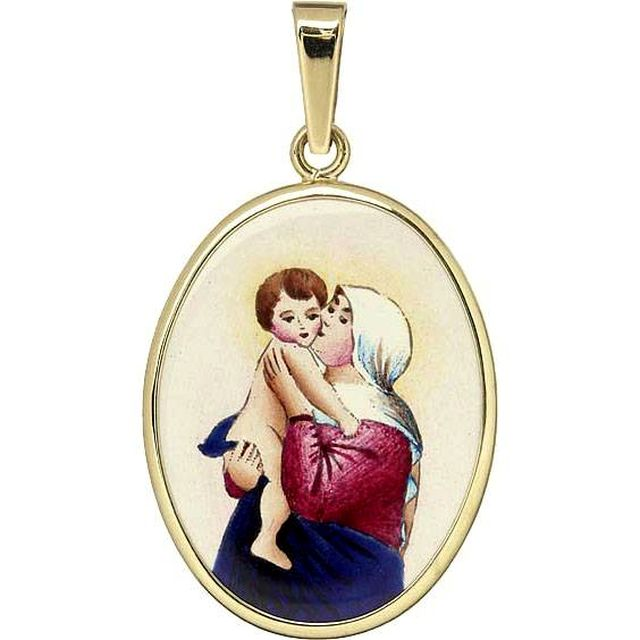 Medal Madonna - Hand Painted Patron Saint Jewelry by Aljancic.com