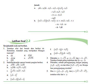 Materi Bentuk Akar Matematika Kelas X Perpustakaan Matematika