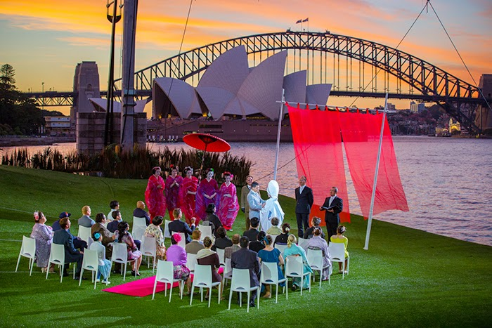 Handa Opera on Sydney Harbour, Madama Butterfly wedding at sunset