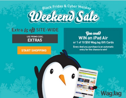 Wagjag Black Friday & Cyber Monday $5 Off Sitewide + Win iPad Air