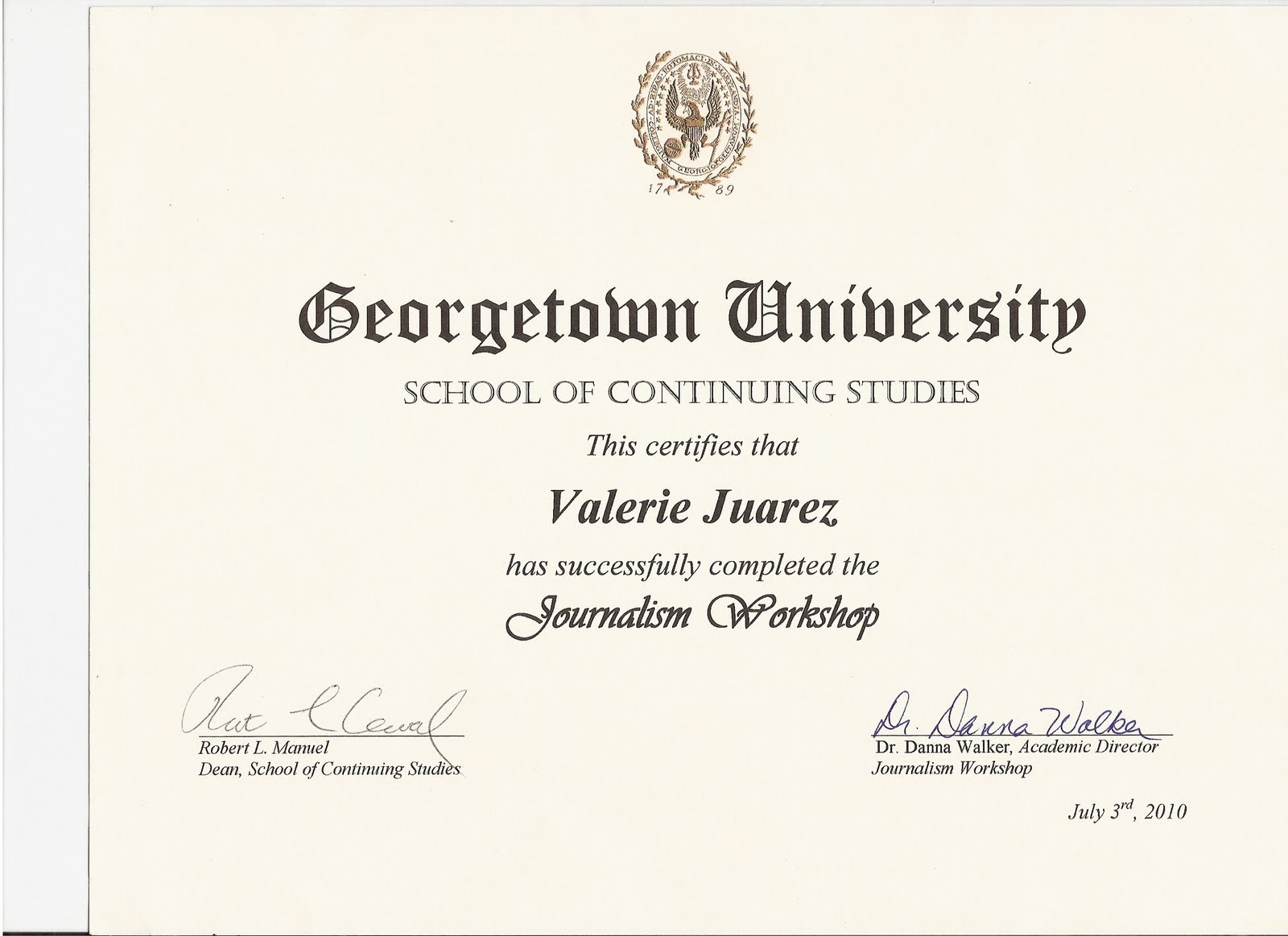 Broadcast Journalism Program At Georgetown University Summer 2010