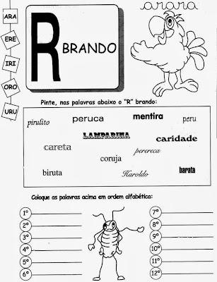 R fraco, R som fraco, R brando, atividades com R fraco, atividades com R brando, atividades com R, atividades com R par imprimir.