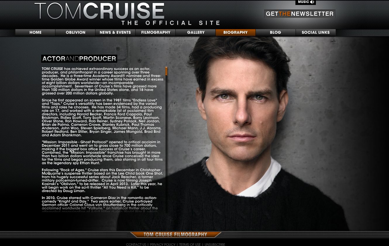 SSC Media Studies: Tom Cruise- The Official Site