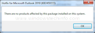 hotfix from microsoft outlook 2010 kb2459115, There are no products affected by this package installed on this system