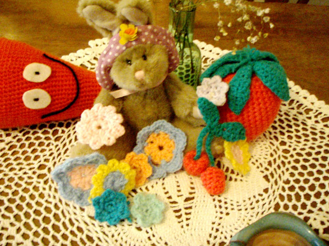 crochet toys deco strawbberries cherries stuffed plush