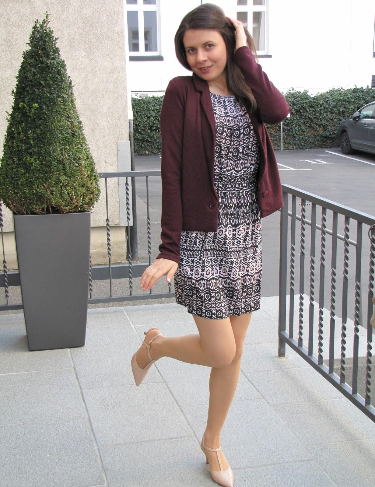 berry colour, pattern dress VILA