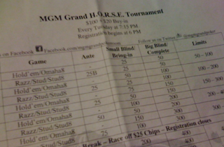 Weekly $120 H.O.R.S.E. tourney at MGM