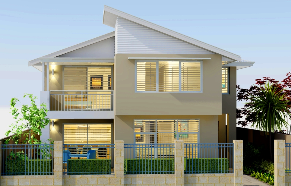 Innovative double storey home with views to the street for Double hip roof design
