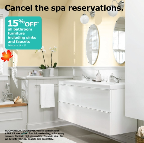 daily deals ikea canada 15 off bathroom furniture feb 14 27