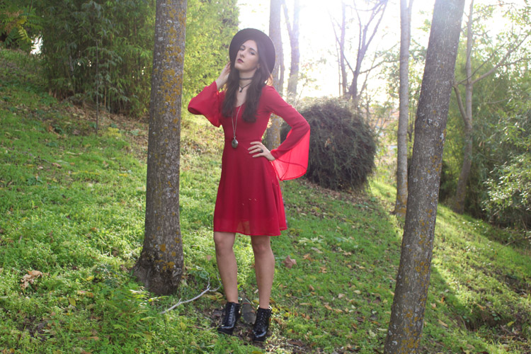 OOTD: Red dress, black hat, ancle booties
