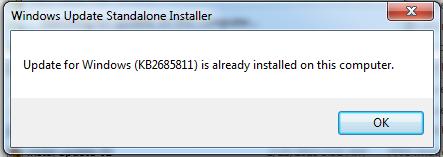pesan update KB2685811 telah terinstal
