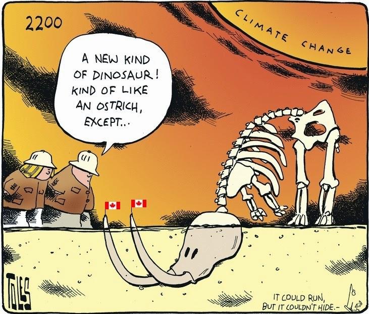 Tom Toles: k-k-k-Canadian dinosaurs.