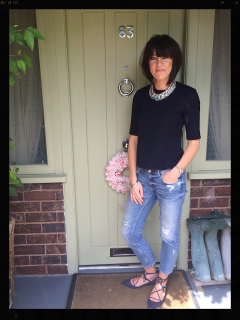 My Midlife Fashion, Statement Necklace, Zara, Boden, Lille Lace Up Flats, Distressed Denim