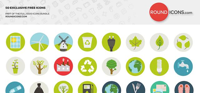 エコロジーと旅行をモチーフにしたフラットデザインの無料アイコン素材セット