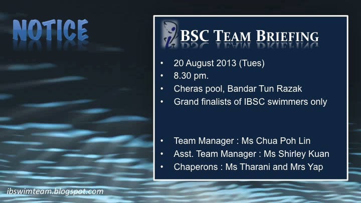 Ikan Bilis Swimming Club 1971 Kl Sport Excel Grand Final 2013 Ibsc Team Briefing