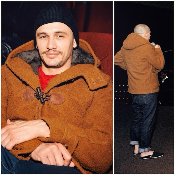 James Franco wears Gucci menswear Pre Fall 2014 brown mustard duffle coat to The USC School Of Cinematic Arts Screening Of Don Quixote