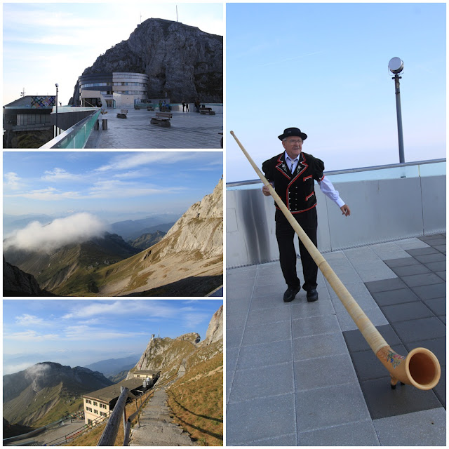 It's cold and misty early in the morning with beautiful Alphine Horn (Swiss Horn) performance at Pilatus Kulm (Mount Pilatus) in Lucerne, Switzerland