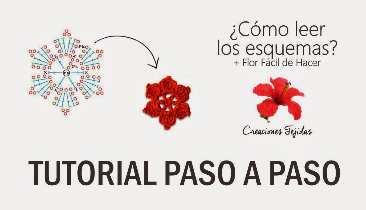 #T5 ¿Cómo leer los esquemas de Crochet +Flor Fácil de Hacer