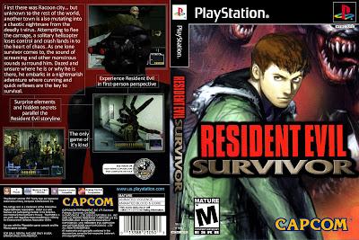 Jogo Resident Evil Survivor PS1 DVD Capa